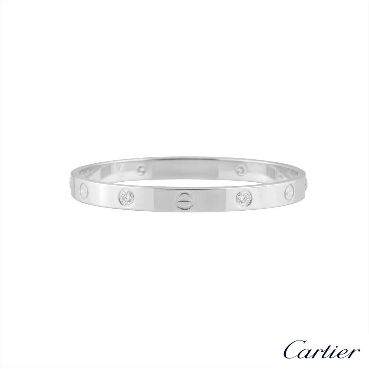 Cartier White Gold Half Diamond Love Bracelet Size 18 B6035818